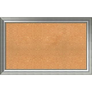 Framed Cork Board, Choose Your Custom Size, Vegas Curved Silver Wood