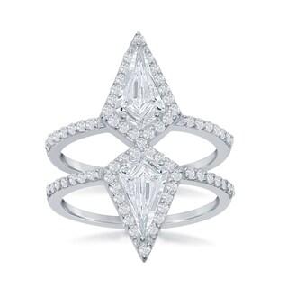 La Preciosa Sterling Silver Cubic Zirconia Double Triangle Ring