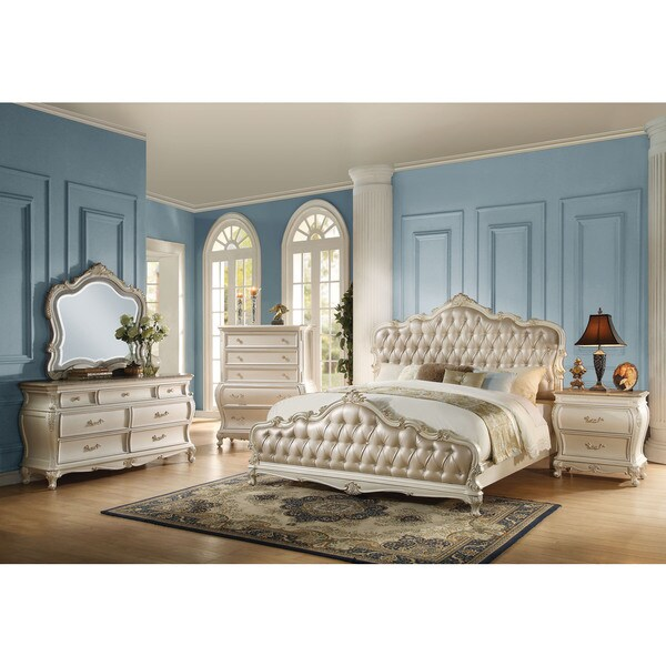 acme furniture bedroom sets. Acme Furniture Chantelle 4 Piece Bedroom Set  Rose Gold PU Leather with Pearl White
