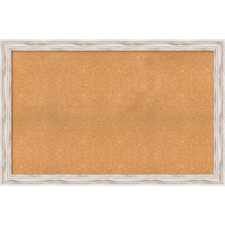 Framed Cork Board, Choose Your Custom Size, Alexandria White Wash Wood (More options available)