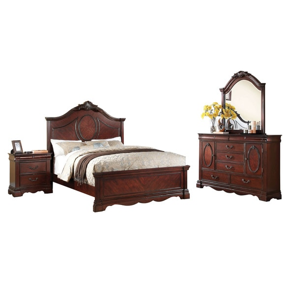 Acme Furniture Estrella 4 Piece Bedroom Set, Dark Cherry