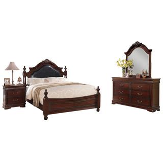 Acme Furntiure Gwyneth 4-Piece Bedroom Set, Black PU and Cherry