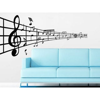 Music Note Treble Clef Floral Patterns Musical Notes Waves Music Recording Studio Sticker Decal size 33x52 Color Black