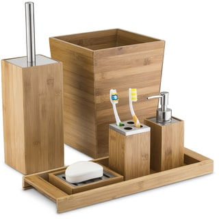 Delicieux Home Basics Natural Bamboo Bathroom Accessories