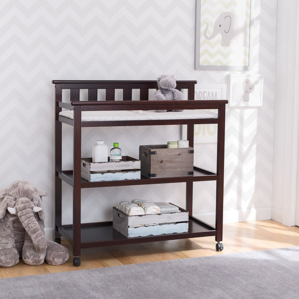 Delta Children Flat Top Changing Table with Casters, Dark Chocolate - 38.25 x 18.5 x 40