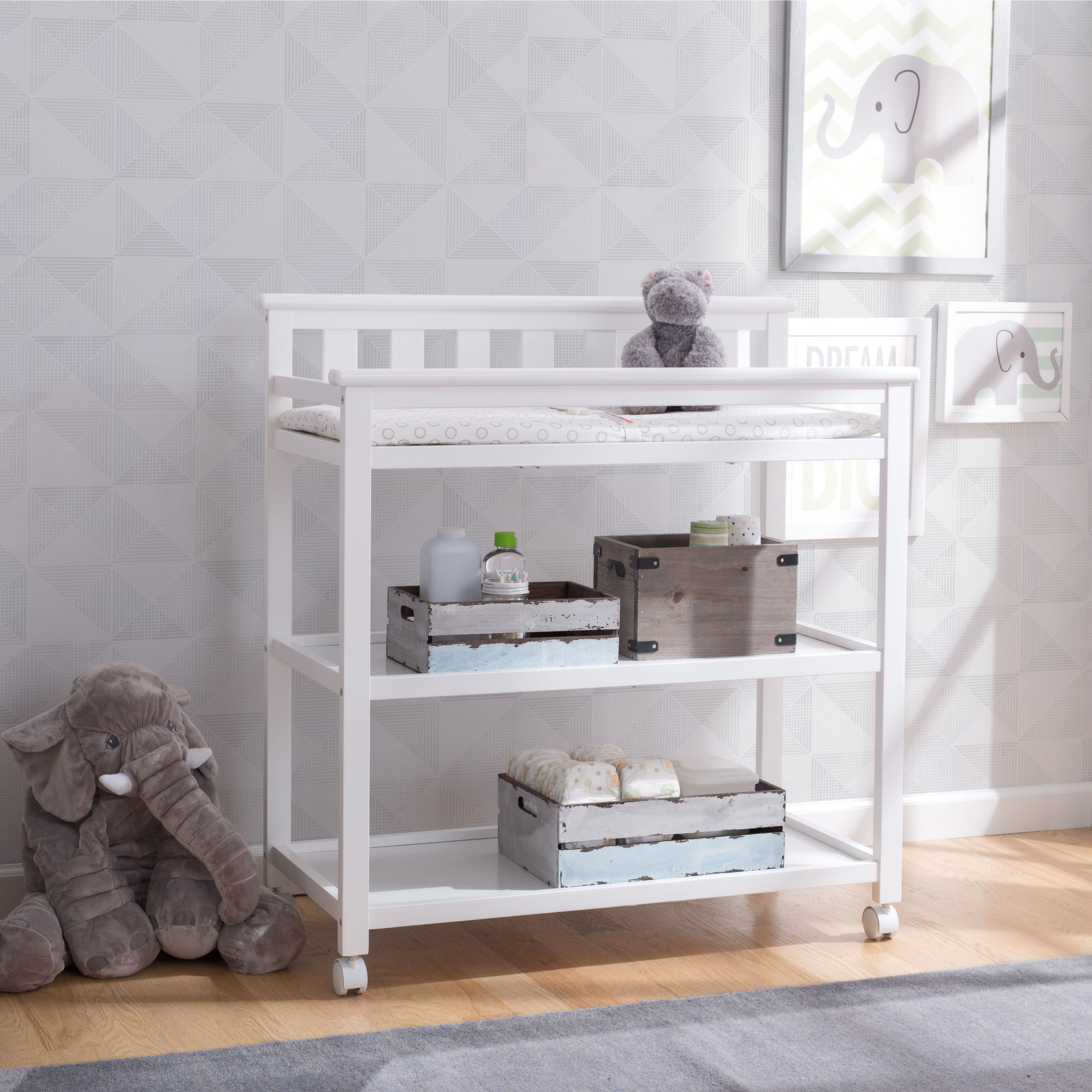 Delta Children Flat Top Changing Table with Casters, Bian...