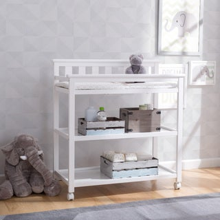 Delta Children Flat Top Changing Table with Casters, Bianca (White)