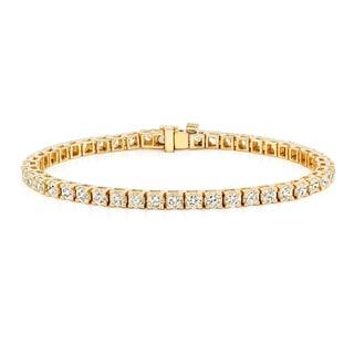 Auriya 14k Gold 8ct TDW Round Cut Diamond Tennis Bracelet (J-K, I2-I3)