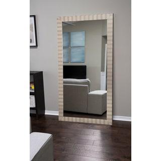 Silver Wood Modern Manhattan Floor Mirror