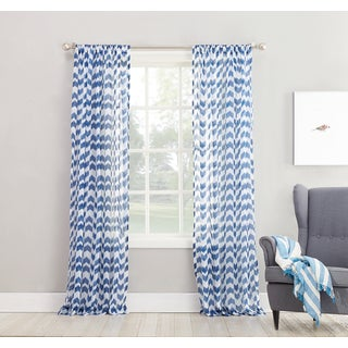 No. 918 Ladonna Split Chevron Semi-sheer Rod Pocket Curtain Panel (3 options available)