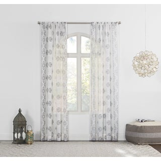 Marseilles No. 918 Distressed Border Print Sheer Curtain Panel