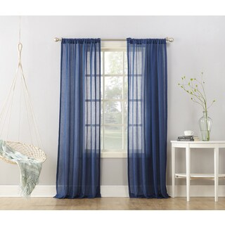 No. 918 Ladonna Blue Semi-sheer Rod Pocket Curtain Panel