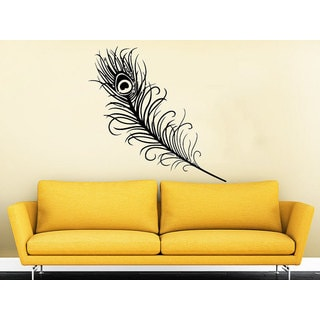 Peacock Feather Bird Beautiful Feathers Home Pattern Nature Bohemian Decor Bedroom Sticker Decal size 33x45 Color Black