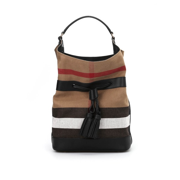60fbecab8d Shop Burberry Susanna Beige Check Bucket Bag - Ships To Canada ...