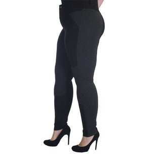 Krazy Love Women's Black and Grey Rayon, Spandex and Nylon Plus-size Soft Stretchy Legging Pants