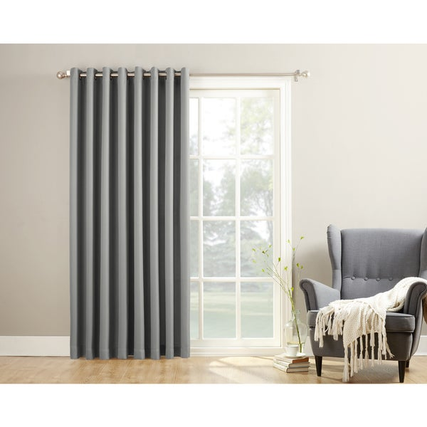 918 Montego Patio Extra Wide Casual Textured Grommet Patio Door Curtain  Panel