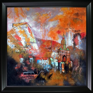 Pol Ledent 'Dinant Belgium 8843' Hand Painted Framed Oil Reproduction on Canvas
