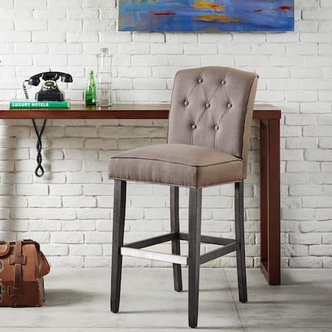 "Madison Park Misha Grey Tufted 30-inch Bar Stool - 19.5""w x 24.75""d x 44""h"