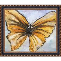 Susan Fischer 'Butterfly' Hand Painted Framed Oil Reproduction on Canvas