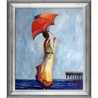 Justyna Kopania 'Sea' Hand Painted Framed Oil Reproduction on Canvas