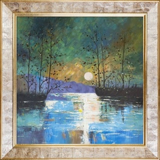 Justyna Kopania 'River, with Glowing Moon' Hand Painted Framed Oil Reproduction on Canvas