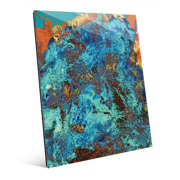 'Chaos in Blue' Glass Wall Art Print
