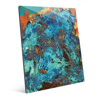'Chaos in Blue' Glass Wall Art Print