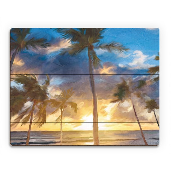 'Sunset Beach' Wooden Wall Art Print