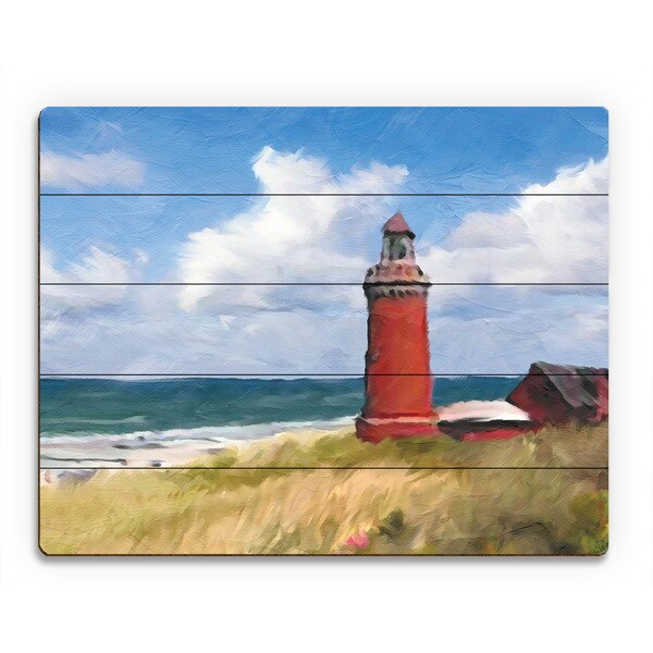 'The Red Lighthouse' Wooden Wall Art Print