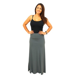 Women's Fold over Waist Full Length Solid Maxi Skirt XL Size in White(As Is Item)