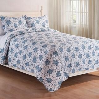Bay Blue Floral 3-Piece Cotton Quilt Set