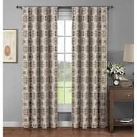 Window Elements Caroline Brown Cotton 96-inch Extra Wide Rod Pocket Curtain Panel (Set of 2) - 52 x 96