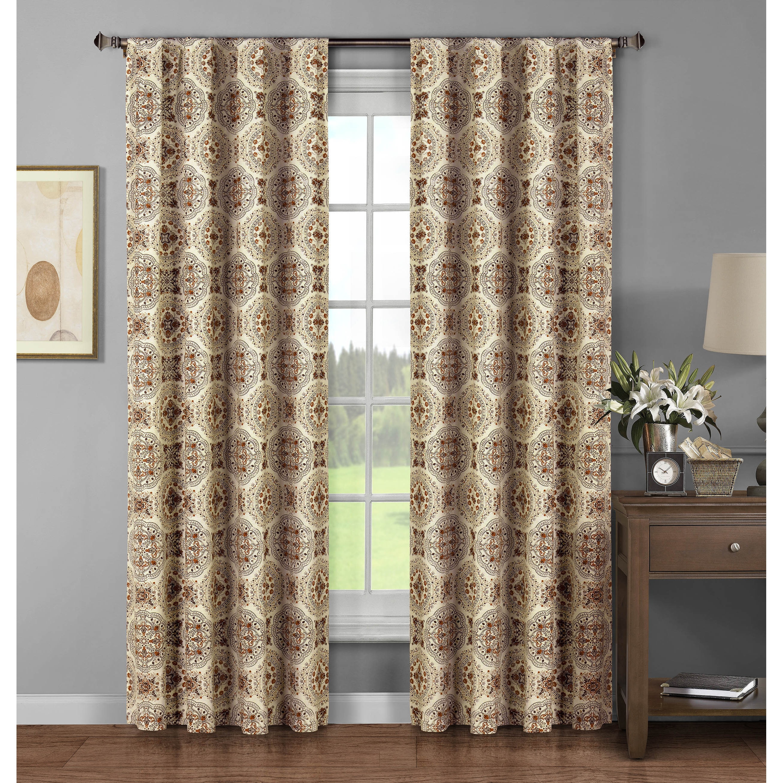 Details About Window Elements Caroline Brown Cotton 96 Inch Rod Pocket Curtain Panel Pair 52