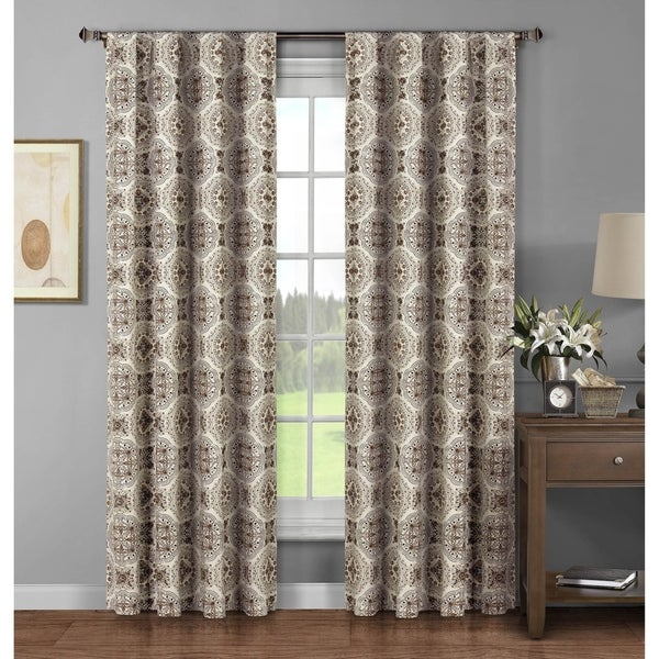 Window Elements Caroline Brown Cotton 96 Inch Extra Wide Rod Pocket Curtain Panel Set Of 2