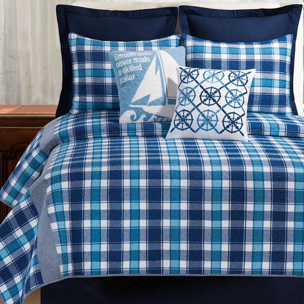 Brice Blue Plaid Cotton Quilt (Shams Not Included)
