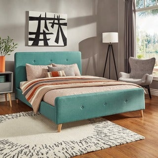 Bettina Button Tufted Linen Fabric Bed with Footboard by iNSPIRE Q Modern (Full - Turquoise)