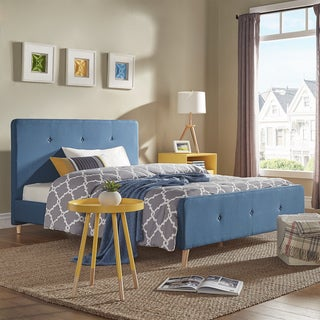 Bettina Button Tufted Linen Fabric Bed with Footboard by iNSPIRE Q Modern (Queen - Dark Blue)