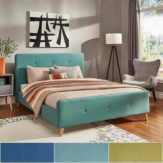Bettina Button Tufted Linen Fabric Bed with Footboard by iNSPIRE Q Modern. Blue Beds For Less   Overstock com