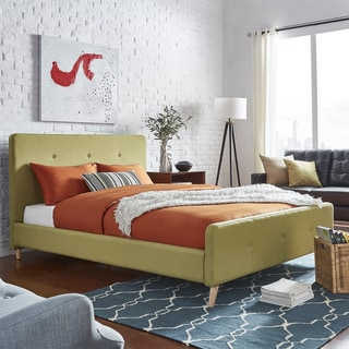 Bettina Queen Size Button Tufted Linen Fabric Headboard Bed with Footboard by MID-CENTURY LIVING