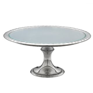 Reed & Barton Heritage Silver Metal andd Glass Cakestand