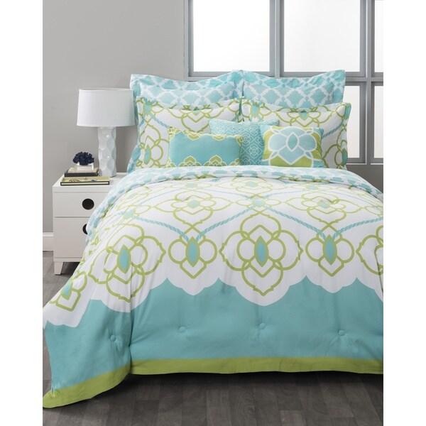 StyleNest Sahara Aqua Bed-in-a-Bag 8-piece Comforter Set