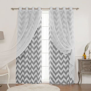 Aurora Home MIX and MATCH CURTAINS Muji Sheer Chevron 4-Piece Panel Pair - 52 x 84 (2 options available)