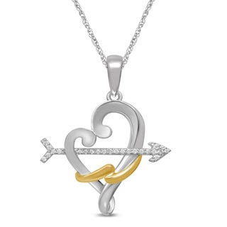 Unending Love Gold over Silver Diamond Accent Vermeil Loving Arms Heart Pendant (I-J, I1-I2)