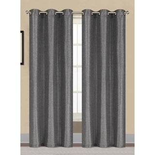 Window Elements Willow Textured Woven 84-inch Grommet Curtain Panel Pair - 38 x 84