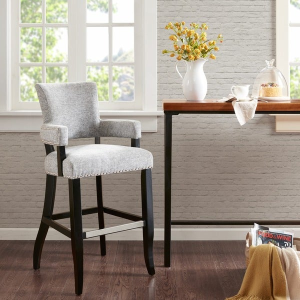 Shop Madison Park Parler Grey Arm 30 Inch Bar Stool 2275w X