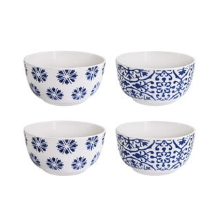 American Atelier Blue Floral White/Blue Earthenware Soup Bowls (Set of 4)