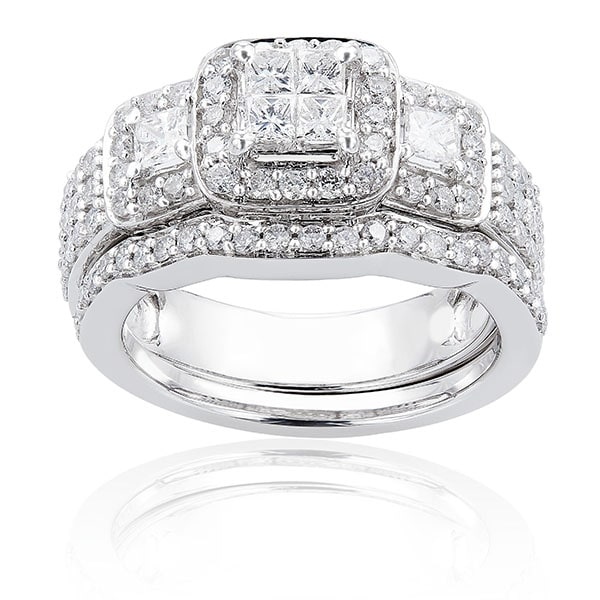 Annello 14k White Gold 1 1/6ct TDW Diamond Bridal Ring Set (H-I, I1-I2)