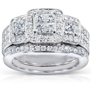 Annello by Kobelli 14k White Gold 1 1/6ct TDW Diamond Bridal Ring Set (H-I, I1-I2)