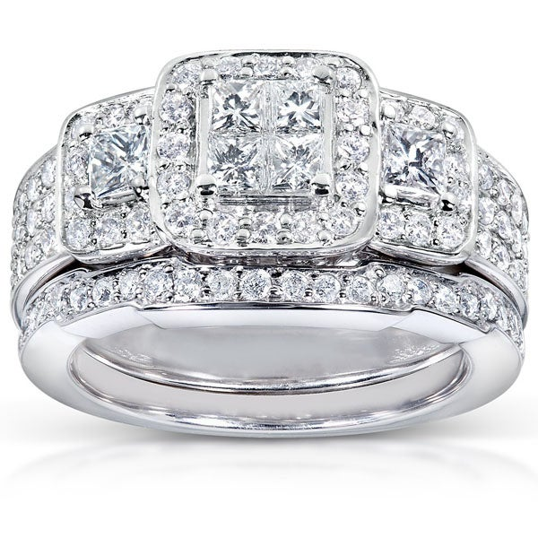 Annello by Kobelli 14k White Gold 1 1/6ct TDW Diamond Bridal Ring Set (H-I, I1-I2)
