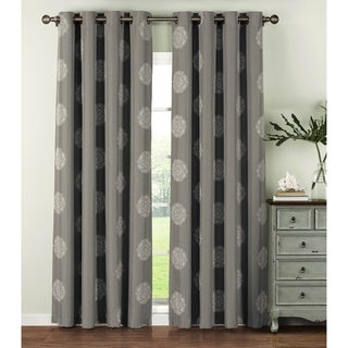 Window Elements Venice Polyester 84-inch Embroidered Faux Linen Extra-wide Curtain Panels (Set of 2) - 54 x 84
